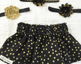 Little Girl Skirt. Circle skirt. Baby girl skirt. Gold skirt. Baby shower. Black & gold skirt.