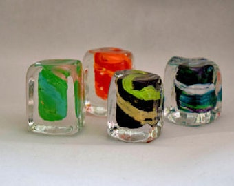 Crazy Cubes Glass Ice Cubes with Color Glass