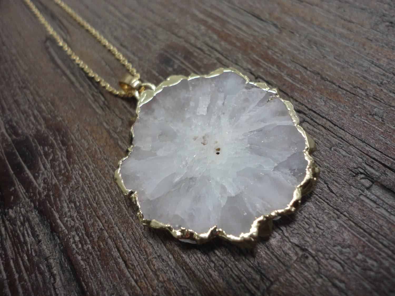White Solar Quartz Pendant Gold Necklace/ Druzy/Agate Quartz Slice