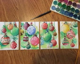 Christmas Keepsake: Set of 4 Christmas Watercolors