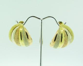 Vintage 14 K gold three color half hoop earrings