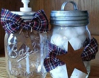 Country Prim Glass Mason Canning Jar SOAP/LOTION DISPENSER & Storage Jar Set~Farmhouse Vintage Bathroom Set