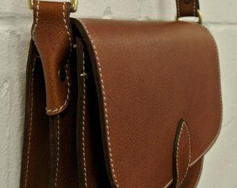 Handmade in UK Tan Saddlebag style Satchel 26 x 21 x 9cm.