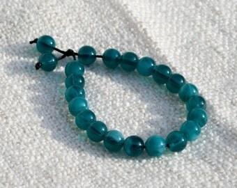 Swirlling Ocean Blue Glass Bead Bracelet