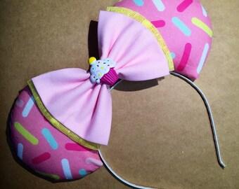 Cupcake Sprinkle Fabric Mouse  Ears
