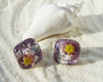 Lilac Square stud earrings Fused glass jewelry Earrings Jewelry Earrings Stud