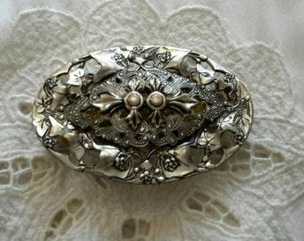 Vintage Filigre Silver Tone Brooch Converted Into a Barrette