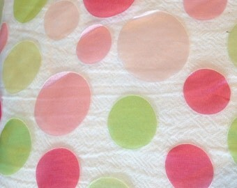 White Organza with Pink and Green Satin Dots Fabric-By-The-Yard