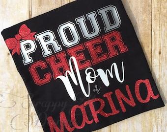 Cheer Mom Shirt, Proud Cheer Mom Shirt, Cheerleading Mom T-Shirt, Glitter Cheer Shirt, Personalized Cheer Shirts, Sports Mom T-shirt