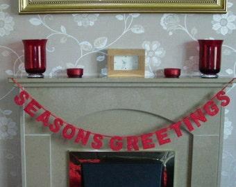 Seasons greetings banner, christmas garland, Christmas in July