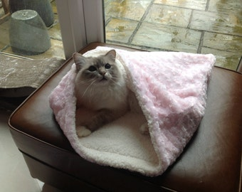 Snuggle sack, sleeping bag for cats,dogs or small animals. luxury hand made