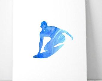 Surf art - surfer watercolor - Giclee Print - blue wave - surf wall art - surf illustration - surfing print - ocean decor - sports