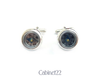 Vintage silver toned novelty compass cufflinks ~ Cabinet22