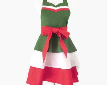 Plus Size Green White & Red Apron, X-Large Italian Retro Apron, Plus Italian Apron, Italian Hostess Apron, Plus Italian Bridal Shower Gift