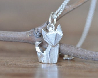 Origami Fox Necklace in Sterling Silver 925, Fox Necklace, Silver Fox Necklace, Origami Animal Jewelry, Origami Jewelry, Jamber Jewels