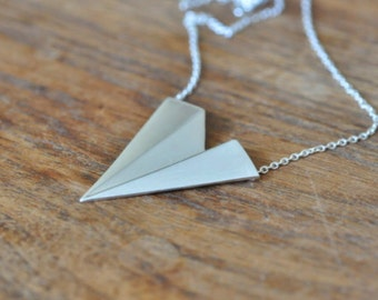 Sterling Silver Statement Necklace, Statement Jewelry, Paper Airplane Necklace, Silver Triangle Necklace, Origami Jewelry Necklace