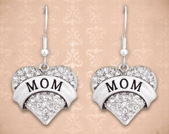Mom Heart Earrings - 48757