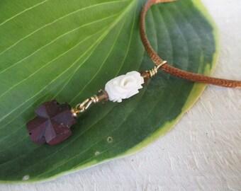 Staurolite Cross and Carved Bone necklace