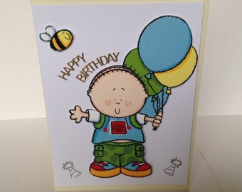 handmade birthday card, kids cards, male birthday cards, happy birthday card, cards for boys, cute kids cards, 7x5 greeting card,