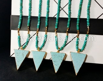 WT-N225  New! Natural stone beads necklace, Spacer green beaded necklace,AmazingTurquoise beads necklace