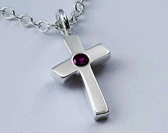 Garnet Cross Necklace Pendant in Sterling Silver - Sterling Silver Garnet Necklace, Sterling Silver Cross Necklace, Sterling Cross Necklace