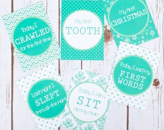Baby Milestone Cards - Printed - Keepsake Photo Prop - New Baby Gift - Baby Shower - Babies First Year