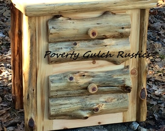 Rustic Concealment Log Night Stand with Hidden Compartment Concealment Night Stand