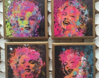 COASTERS!!! Marilyn Monroe abstract coasters with gold trim!