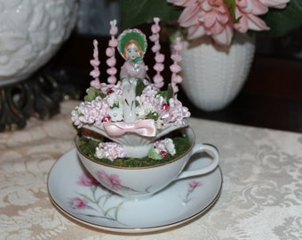 OOAK Vintage Pink Carnation Teacup Cake Topper / Assemblage Art Piece / Centerpiece, Marie Antoinette, Victorian, Garden Party, French Lady