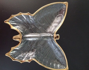 Glass Butterfly Dish with Gold Trim