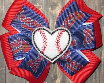 Atlanta Braves Hair Bow / Atlanta Braves Bow / Atlanta Braves Baseball / Atlanta Braves / Atlanta Bow / Braves Hair Bow / Atlanta Braves