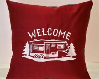 Camper RV  fifth wheel trailer  handmade pillow cover