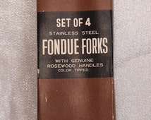 Vintage Fondue Forks 4 Stainless Steel Wood Handles with Colored ends