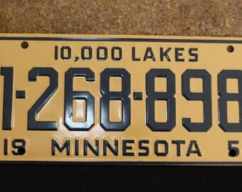 Vintage bike plate, bicycle license plate, Cereal Box Premium, Advertising Minnesota 1954