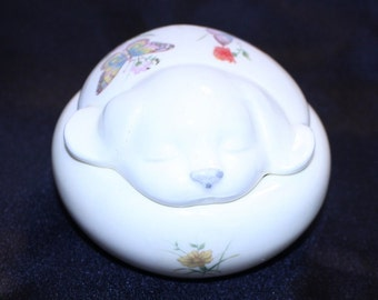 Vintage Takahashi Dog Trinket Box by DEW in San Francisco Hand Decorated Made in Japan