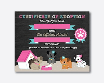 Instant Download, Puppy Adoption Certificate, Dog Adoption Certificate, Pet Adoption Certificate, Adopt a Puppy Party, Chalkboard (CKB.290)