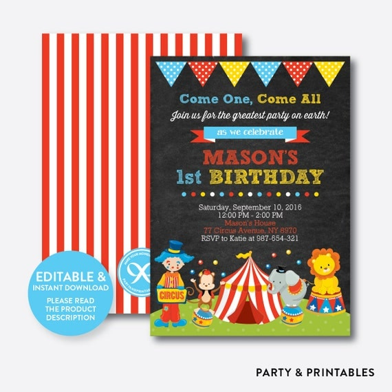Instant Download Editable Circus Birthday Invitation Circus