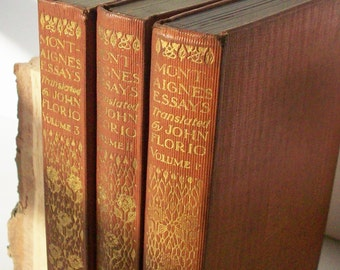 Montaignes Essays / 3 Volumes in Good condition for their age / Everymans Library