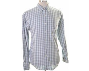 Levis Mens Shirt Large Blue Check Cotton