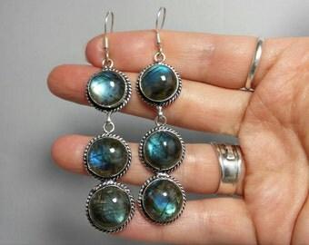 Gorgeous Fiery Labradorite Sterling Silver Dangle Earrings