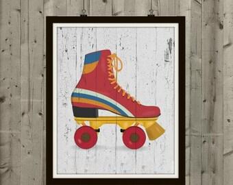 Vintage Roller Skate - Roller Skating, Vintage Art, Vintage Print, Vintage Decor, Vintage Home Decor, Wood Home Decor, Skating, Skating Art
