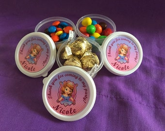 10 Personalized Sofia the First Candy containers / candy cups with lids / party favors