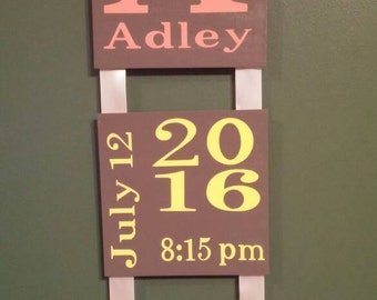 Baby Name and Birth date Hanging Sign