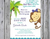 Monkey Baby Shower Invitation-Palm Tree Monkey Baby Shower, Girl Monkey Baby Shower-Palm Tree Baby Shower, Animal Baby shower, Safari