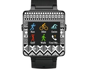Skin Decal Wrap for Garmin Vivoactive Forerunner, Vivoactive Forerunner Hr Watch cover sticker Black Aztec