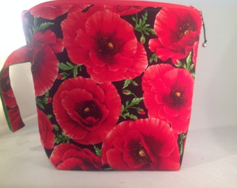 Knitting Project Bag with zipper Giant Red Poppies