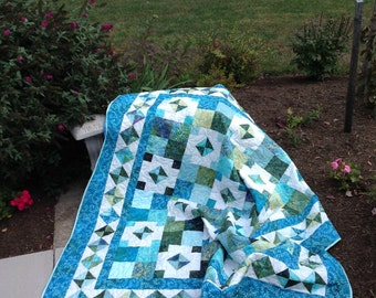 Tropical Quilted Lap Quilt in Blue and Green Batiks