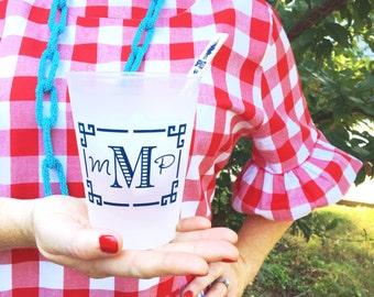 Personalized plastic cups, Greek key Monogrammed shatterproof cup, wedding favors, reception cups, reception favor, frost flex cups, tumbler