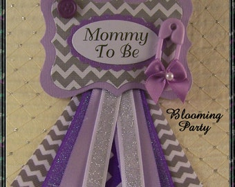 Purple Mommy To Be Corsage Purple and Gray Chevron Baby Shower Badge Purple and Silver Corsage Purple Baby Shower