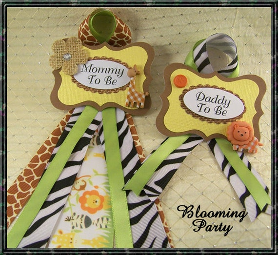 Safari Baby Shower Corsage: Set Of Safari Mommy To Be And Daddy To Be Baby By